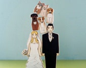 Custom Wedding Cake Topper Couple with Five Sweet Pets