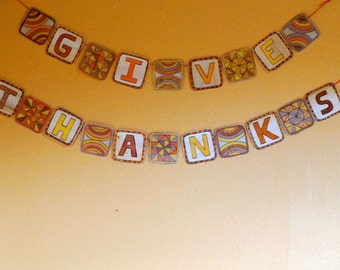 Thanksgiving  Banner, Give Thanks , Printable DIY, digital file, Mini Banner, Decoration