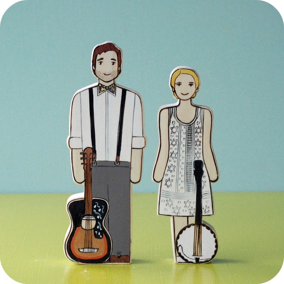 Custom Wedding/Commitment Ceremony Cake Topper Couple with Two Instruments or Objects