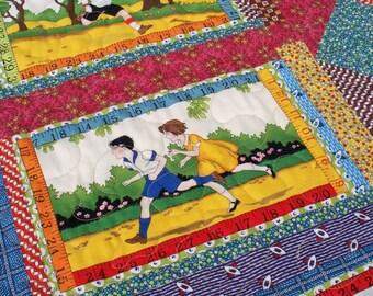 Children's Nap Quilt, VINTAGE FUN, 39 in square scrappy handmade quilt