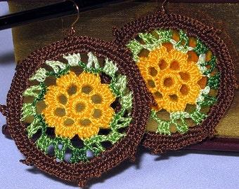 Boho Hippie Flower Earrings on Gold Filled Wire. Large, Lightweight