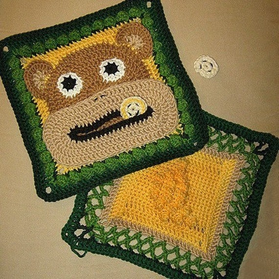 Bruno The Monkey And Banana Granny Square Crochet PATTERN 2