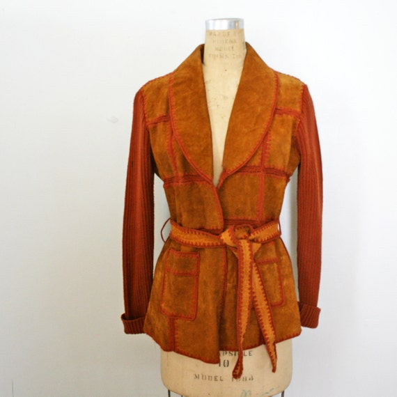vintage 70s Rust Brown Leather and Knit Stitched Patchwork Belted Jacket