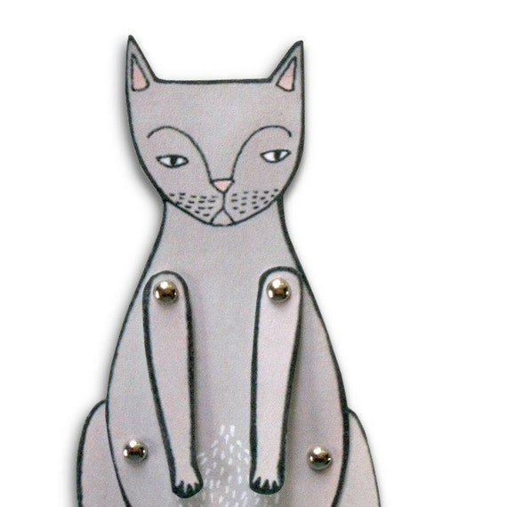 kitty cat moveable paper doll (in gray)
