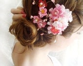 hot pink cherry blossom hair clip - DEVOTEDLY - bridal headpiece accessory