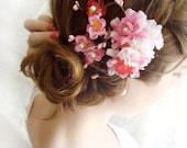 pink flower hair clip, cherry blossom hair accessories, bridal hair clip, hot pink, bridal headpiece, bridal hair piece, floral hairpiece