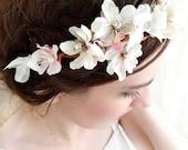 floral rhinestone white flower head wreath - PETAL - a bridal headpiece w/cherry blossoms