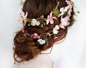 rustic pink / moss wedding headpiece - FOLKLORE - pink cherry blossom hair wreath