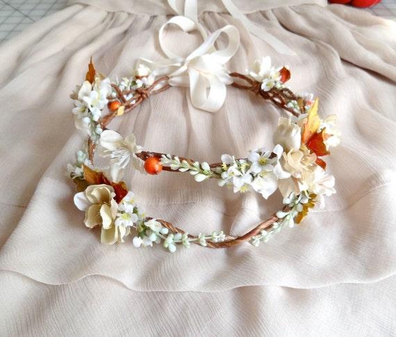 Fall Wedding Hairstyles With Flower Crown: Fall Flower Crown Bridal Headpiece Autumn Wedding By