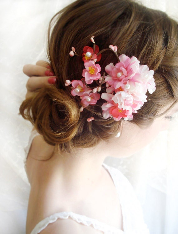 Wedding Hair Flowers Pink : Hot pink bridal hair accessories cherry blossom by