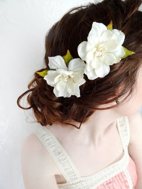 ivory flower hair pins, bridal hair clip, hair flower, boho hairpiece  -TWO SWEET- cream flower accessory, rustic wedding bobby pins