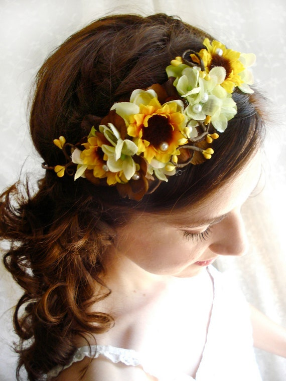 sunflower head wreath, yellow flower accessory, bridal hair piece - CHARMED - wedding hair accessories, flower girl crown