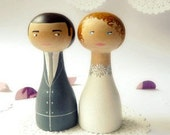 FREE SHIPPING Custom made Wedding Cake Toppers - Personalized - Wooden art doll hand painted