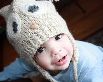 HOOT TOQUE Preemie to Adult Owl Hat Knitting Pattern PDF