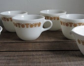 Vintage Pyrex Butterfly Gold Mug, Set of Four, with Matching Sugar & Creamer from Corelle