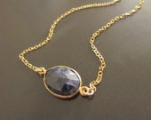 Navy Sapphire Gold Pendant Necklace