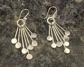 Hammered Silver Chandelier Earrings - Argentium Dangle Earrings - Sterling Silver Drop Earrings - Wife Gift - Hammered Handmade SS Earrings