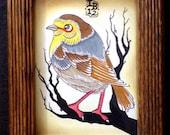 Bird on Branch. Original Illustration. Framed 5x7. Original Art byLB