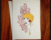 "Art Deco Woman Lady Fashion Illustration Hat Feathers 1920's Millinery Beauty Print Drawing | ""Dottie"" 