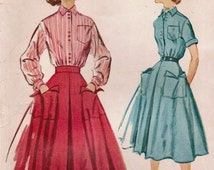 1950s McCall's 9543 Vintage Sewing Pattern Teen Shirt and Skirt Size 14 Bust 32