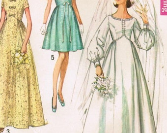 1960s Simplicity 8640 UNCUT Vintage Sewing Pattern Misses' Wedding or Bridesmaid Dress Size 8 Bust 31-1/2