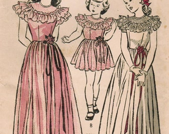 1940s Butterick 4329 Vintage Sewing Pattern Girl's Party Dress, Formal Dress, Full Skirt Dress Size 6
