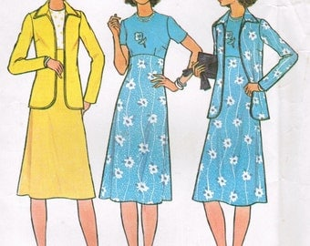1970s Simplicity 7955 UNCUT Vintage Sewing Pattern Women's Dress and Jacket Size 48 Size 50