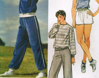 1970s Vogue 8218 UNCUT Vintage Sewing Pattern Misses Sweatshirt, Sweatpants, Shorts, and Top Size Small