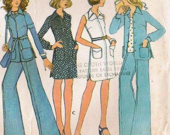 1970s McCall's 3516 UNCUT Vintage Sewing Pattern Misses' Dress, Shirt-Jacket, and Pants Size 12 Bust 34