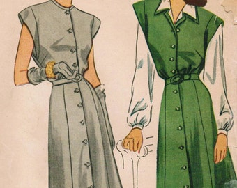 1940s Simplicity 1238 Vintage Sewing Pattern Misses' Dress, Jumper, and Blouse Size 14 Bust 32