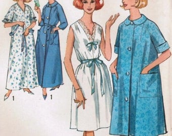 1960s Simplicity 5001 UNCUT Vintage Sewing Pattern Misses' Nightgown and Robe in Two Lengths Size Medium