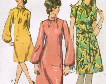 1970s Simplicity 9105 Vintage Sewing Pattern Misses A-line Dress, Cocktail Dress Size 10 Bust 32-1/2
