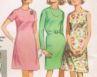 1960s Simplicity 7508 Vintage Sewing Pattern Women's Basic A-line Dress Size 38 Bust 42