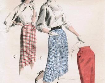 1950s Butterick 7720 UNCUT Vintage Sewing Pattern Misses Slim Skirt, Pencil Skirt, Tailored Skirt Size Waist 24, Size Waist 28