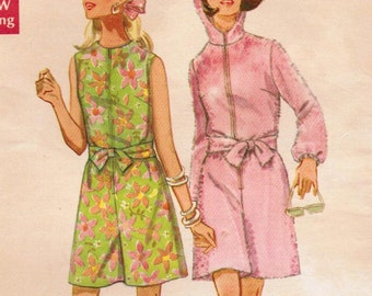 1960s Butterick 5288 Vintage Sewing Pattern Misses' Pantdress, Beach Coverup, Hooded Pantsuit Size 12 Bust 34