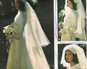 1970s Butterick 3753 Vintage Sewing Pattern Misses Bridal Veils, Wedding Veils, Chapel Veil, Elbow Veil, Blusher Veil One Size