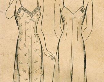 1940s Butterick 2231 Vintage Sewing Pattern Misses' Slip Size 16 Bust 34