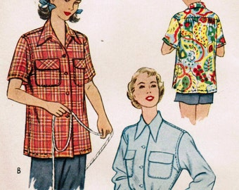 1950s McCall 8336 Vintage Sewing Pattern Misses' Shirt Blouse Size 12 Bust 30