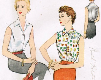 1950s McCall's 3057 Vintage Sewing Pattern Misses Sleeveless Blouse, Casual Blouse Size 12 Bust 30