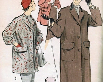 1950s Advance 7764 Vintage Sewing Pattern Junior Miss Chesterfield Coat, Stadium Coat and Skirt Size 9 Bust 28