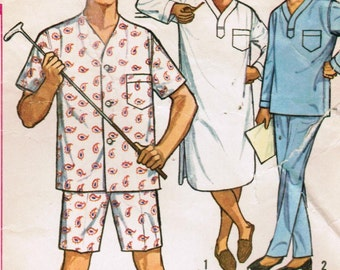 1950s Simplicity 5039 Vintage Sewing Pattern Mens Long Pajamas, Short Pajamas, Nightshirt Size Medium