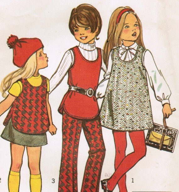 1970s Simplicity 5165 Vintage Sewing Pattern Girls A-line Jumper, Tunic, Pants, and Mini Skirt Size 4