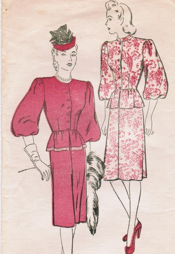 1940s New York 921 Vintage Sewing Pattern Misses' Two-Piece Dress Size 16 Bust 34