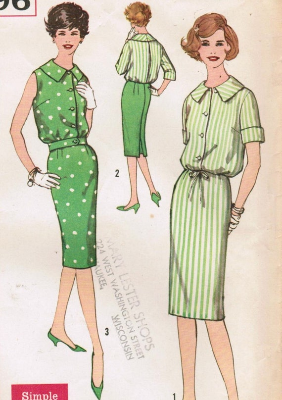 Vintage 1959 Simplicity 2896 Sewing Pattern Junior's Blouse and Skirt Size 11 Bust 31-1/2