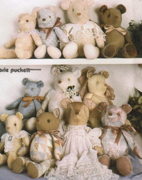 1980s Simplicity 7826 Vintage Craft Pattern Stuffed Bears in 3 Sizes