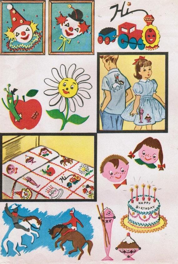 1950s McCall's 2194 Vintage Craft Pattern 24 Delightful Childrens Applique Motifs