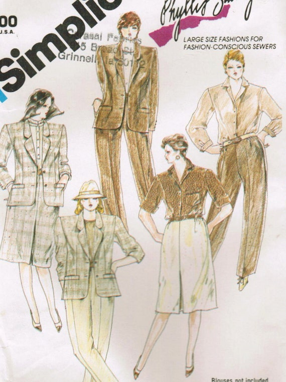 1980s Simplicity 6339 UNCUT Vintage Sewing Pattern Misses' Pants, Skirt, Jacket Designer Phyllis Sidney Size 22 Bust 44