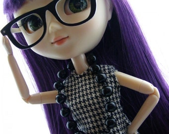 Pullip retro glasses black & white star design
