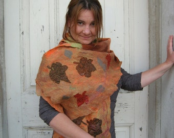 Felted Scarf -  Autumn Leaves