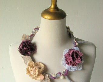 Felted  Faerie Necklace Aubergine, Cream, Mauve